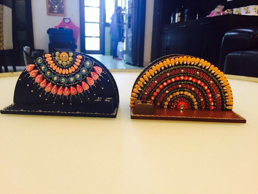 Tissue paper holder Handcrafted on wood  Home decor for Diwali