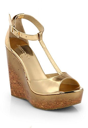 Gold Leather Wedge Sandals by Jimmy Choo. Buy for  595 from Saks Fifth  Avenue 892bcbe234be