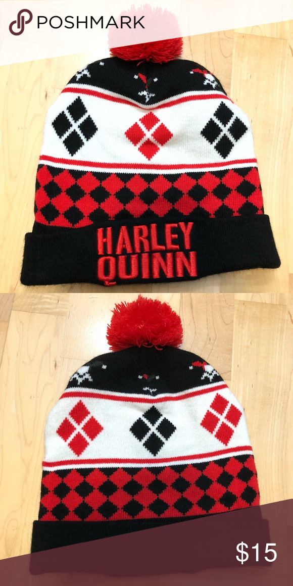 fd0d0d1d560b0 ... Beanie + Charm ✨Good condition ✨Worn few times ✨Good quality ✨FREE  Harley Quinn Charm ✨Open to offers ✨BUNDLE to save Hot Topic Accessories  Hats