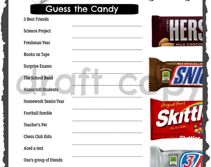 Graduation Party Game Guess The Candy Instant Download
