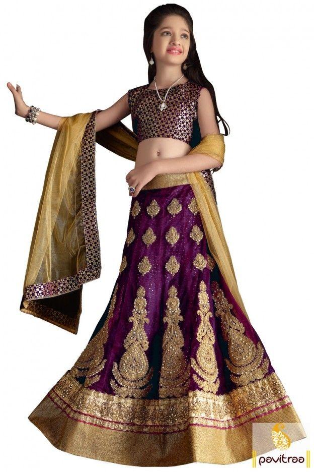 377aa1a732 Fashion Diffusionz Pvt. Ltd. Purple Net Little Girls Ghagara Choli ...