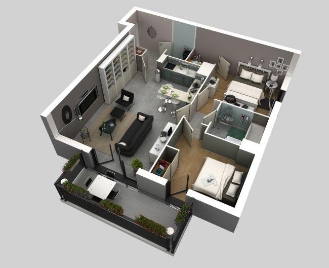 Les appartements ou maisons avec deux chambres sont idéaux pour les petites familles les futurs