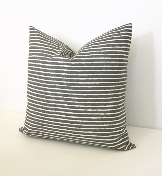 Charcoal Gray And White Striped Decorative Pillow Cover In 40 Inspiration Black And White Striped Decorative Pillows