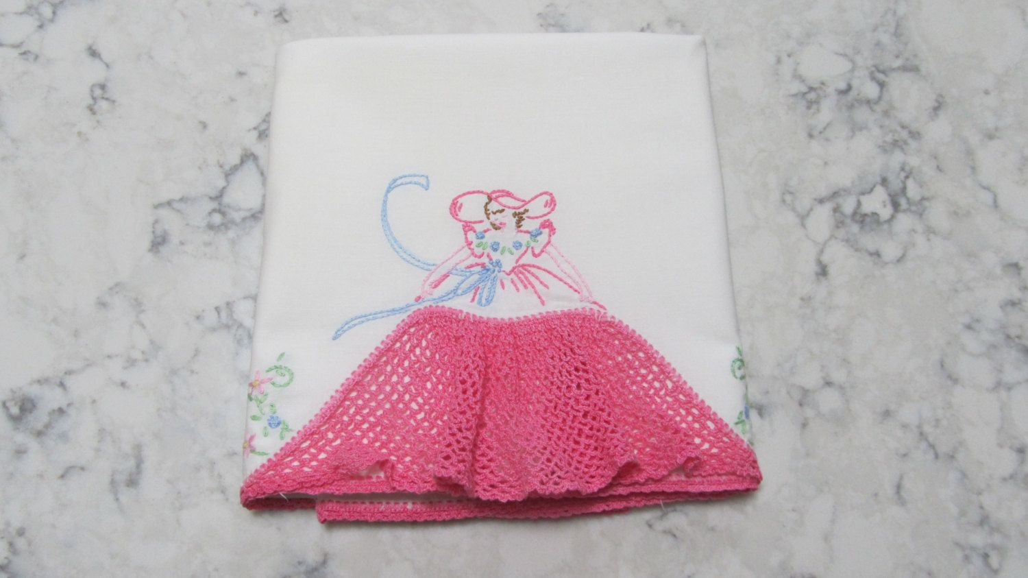 VINTAGE 1950's Era SINGLE Southern Belle Lady Pillowcase with Hand Crocheted Skirt by PrimaMona on Etsy