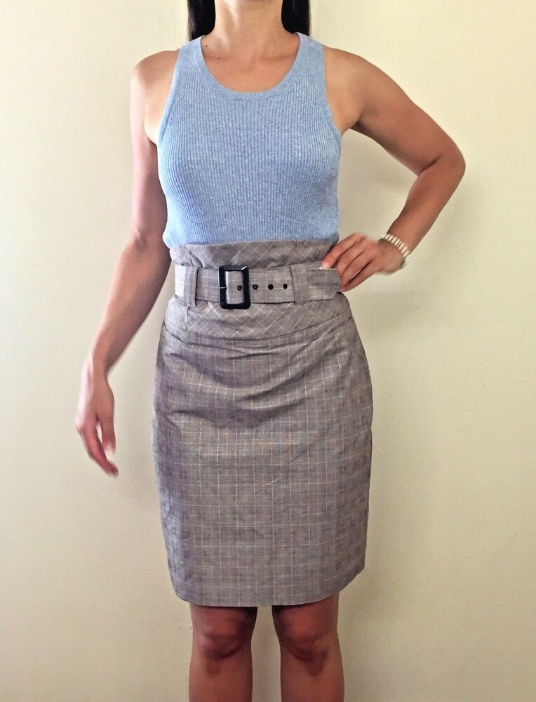 e11c5bd892 CUE Blue Taupe Plaid High Waisted Belted Pencil Midi Skirt Sz AU 10 Career  Work #fashion #clothing #shoes #accessories #womensclothing #skirts (ebay  link)