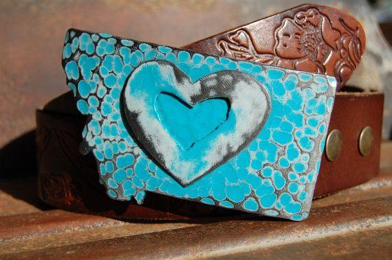 Exotic Sea Montana Steel Belt Buckle w/ Steel Heart