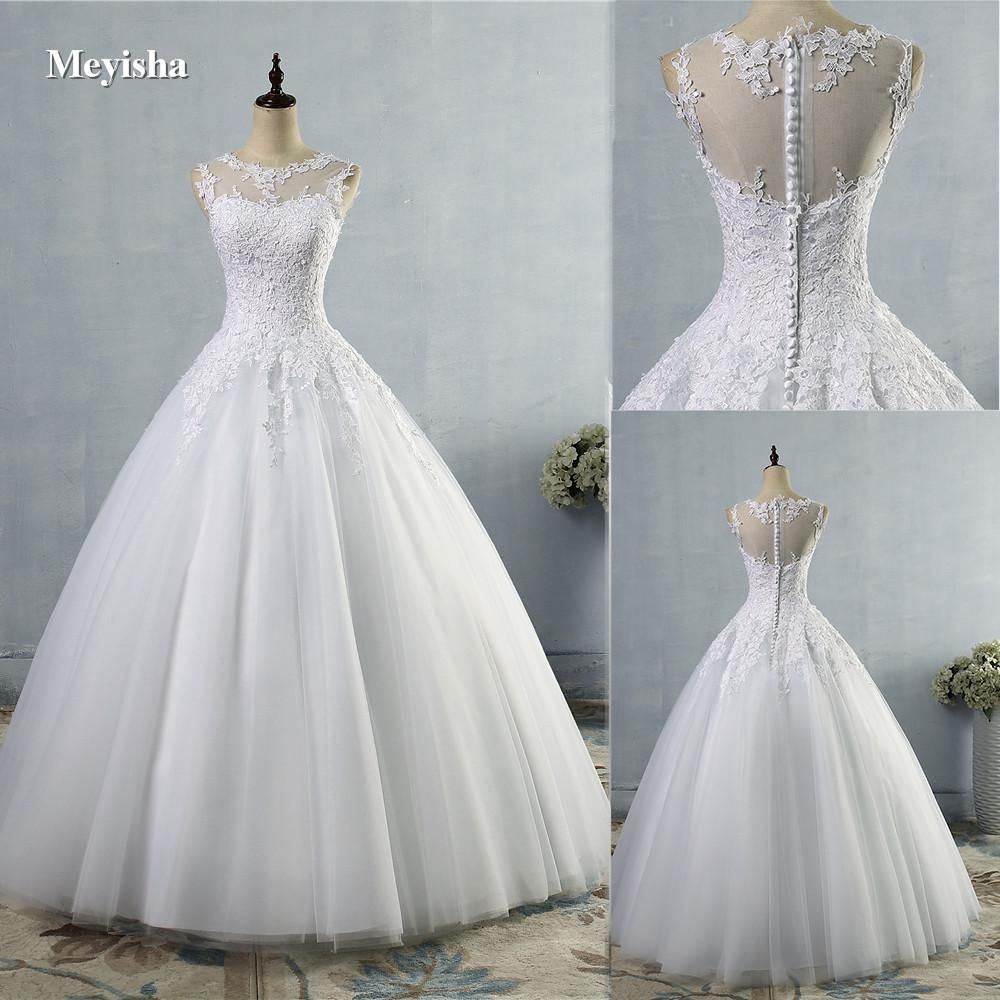 Wedding dresses ball gown lace  ZJ   lace White Ivory ALine Wedding Dresses for bride