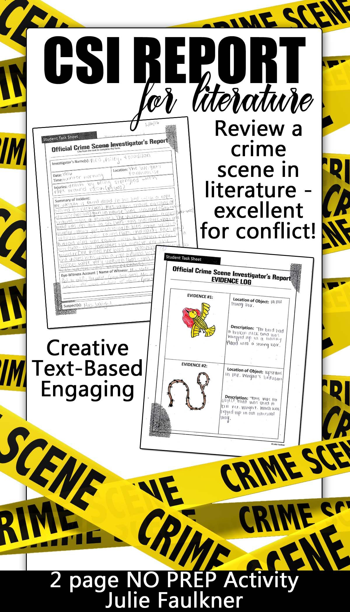 creative activity for literature conflict csi crime scene police report