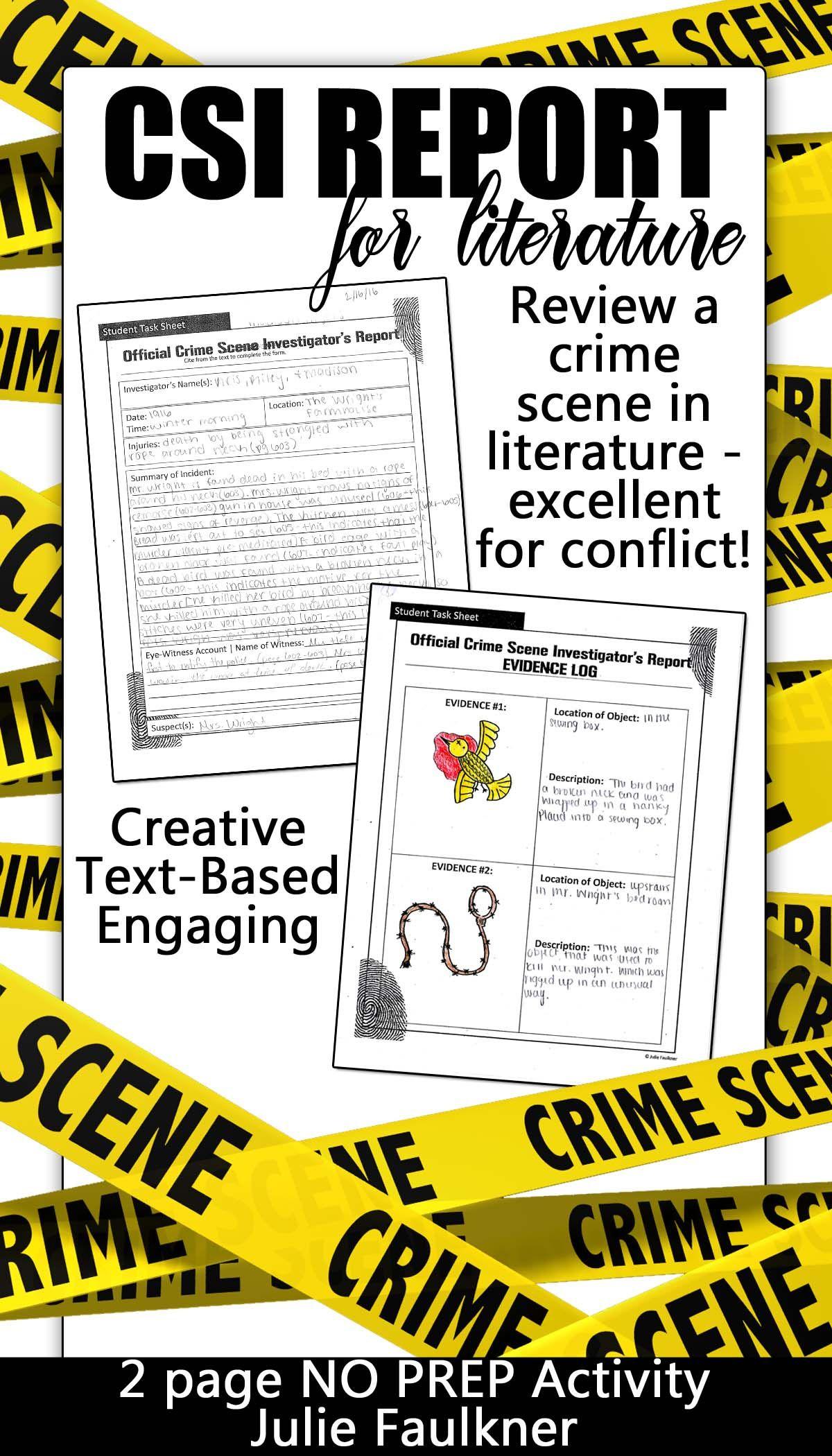creative activity for literature conflict csi crime scene police report - Description Of A Crime Scene Investigator
