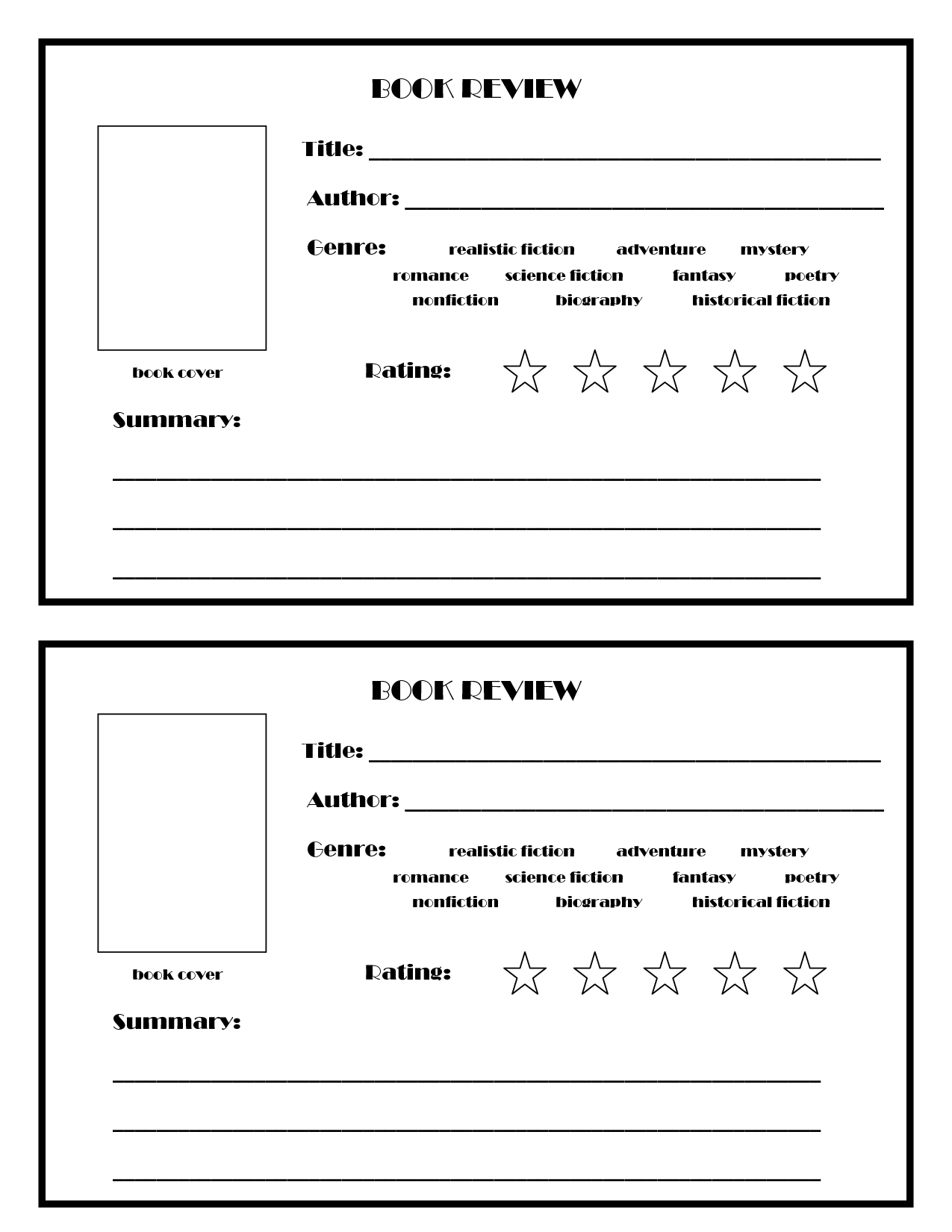 Book Review Template Go With Picture For Board And Can