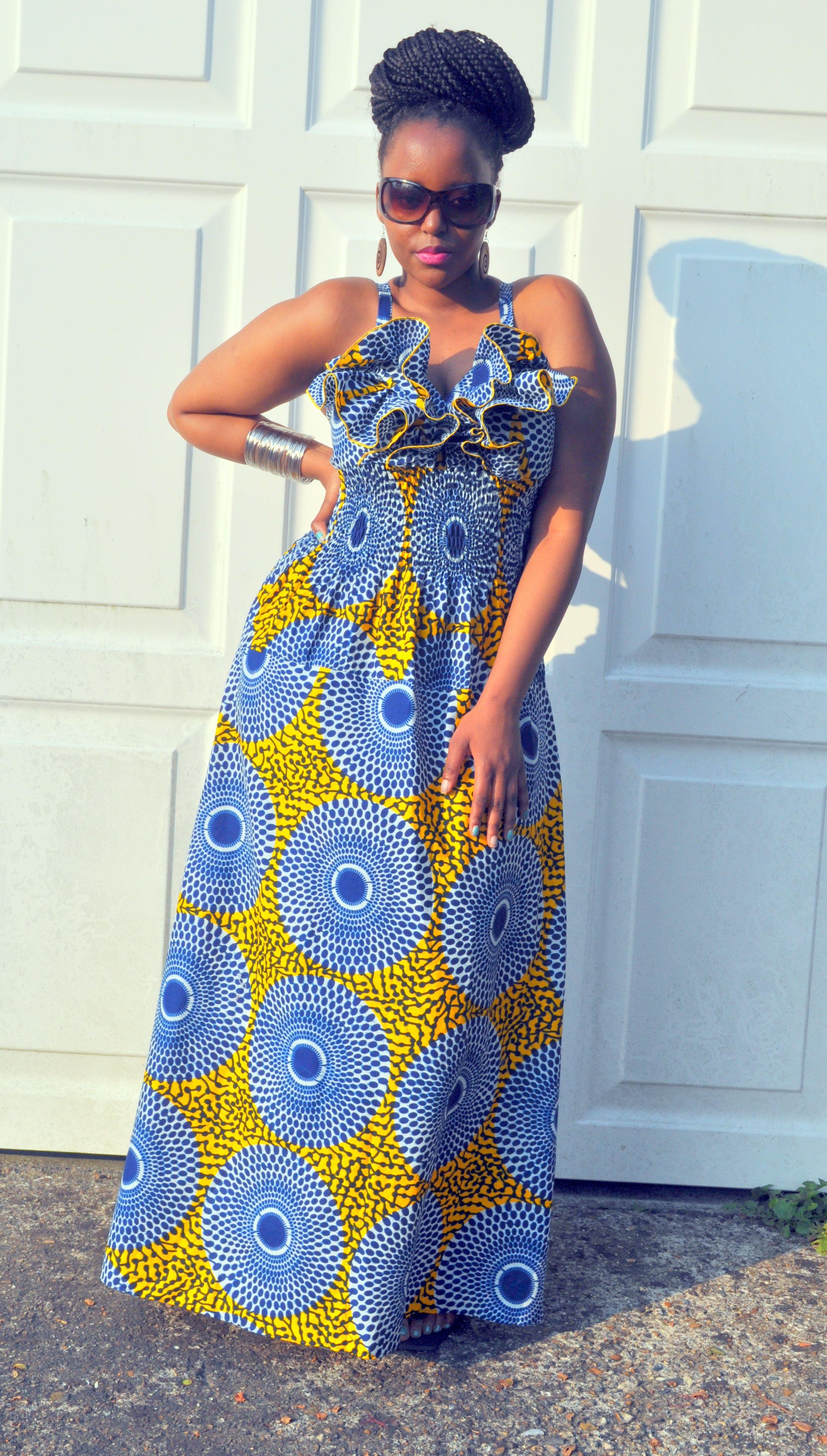 Ameena maxi dress in yellow and blue hues u zuvaa african fashion