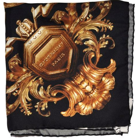 50e99e3bebb Silk Givenchy scarf, large square with famous ornamental gold black design  $375 Now $250 Genuine