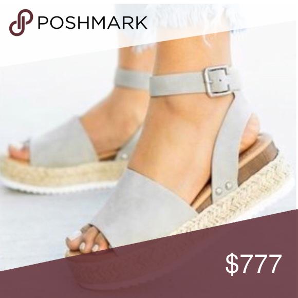 3 Day Sale Last 1 Espadrille Gray Wedge Flat Womens Sandals Womens Sandals Wedges Leather Wedge Sandals
