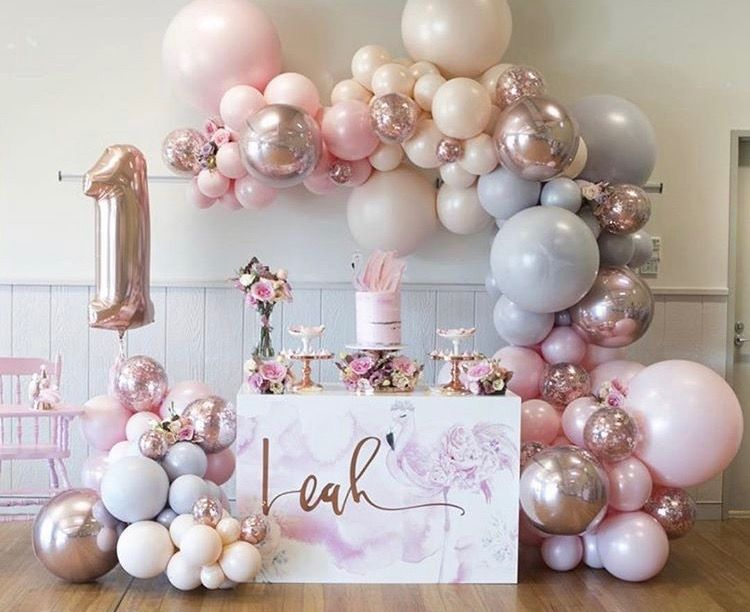 Pink Balloon Garland Decor for 1st Birthday Party Gold