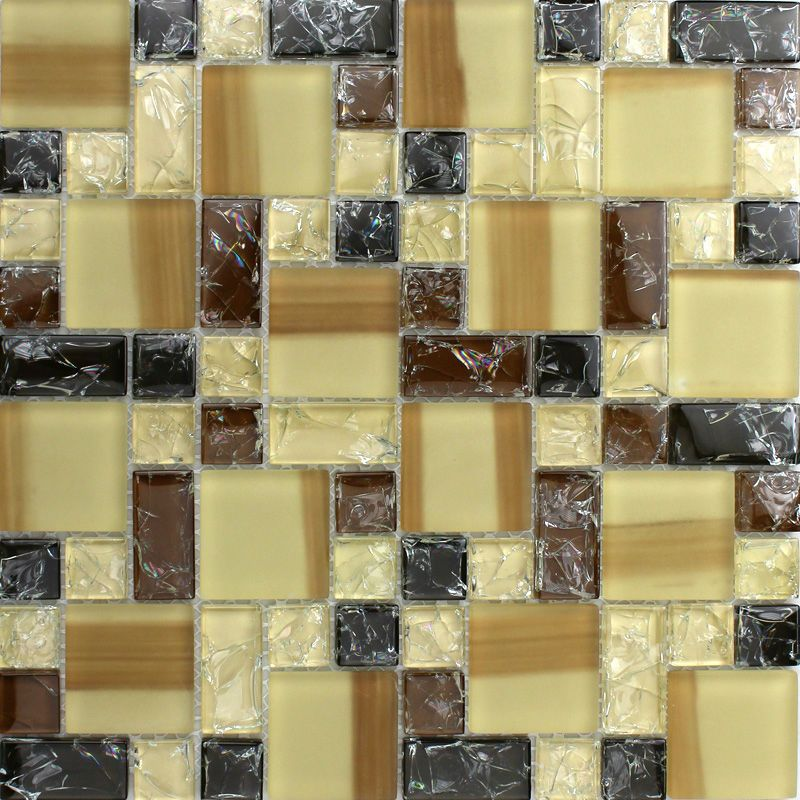 Crystal Glass Tiles Sheet colors Mosaic Art Wall Stickers Kitchen ...