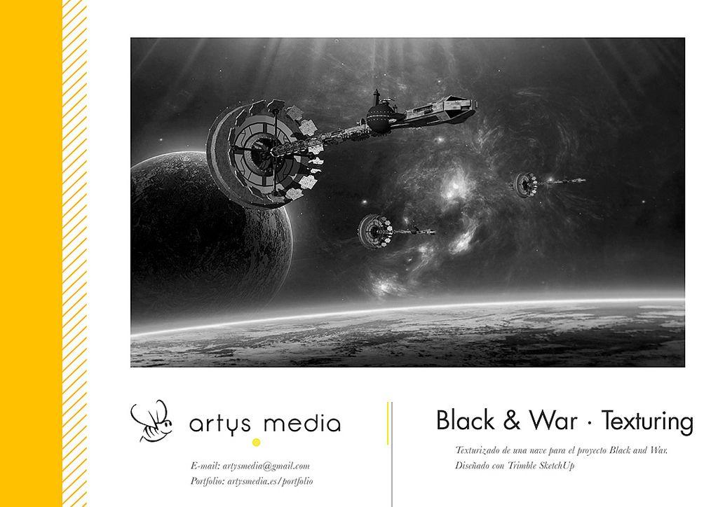 https://flic.kr/p/AbKk8M | Black & War · Texturing 38 | Texturizado de Nave minera vertical y horizontal: cuatro Scyllas pasan delante de ellas mientras cinco Navigator aterrizan. Para el proyecto Black and War en Unity 3D. Diseñado con Trimble SketchUp.