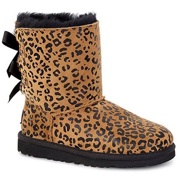 Ugg Australia Bailey Bow Leopard-Print Sheepskin Boots ($130) ❤ liked on Polyvore featuring shoes, boots, ugg, cheetah, faux boots, cheetah print shoes, ...