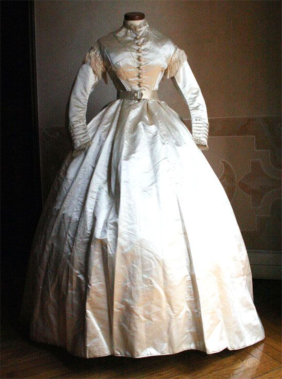 Wedding Ensemble (Dress in Three Pieces): ca. 1865, Italian, silk satin, bodice/skirt/belt.