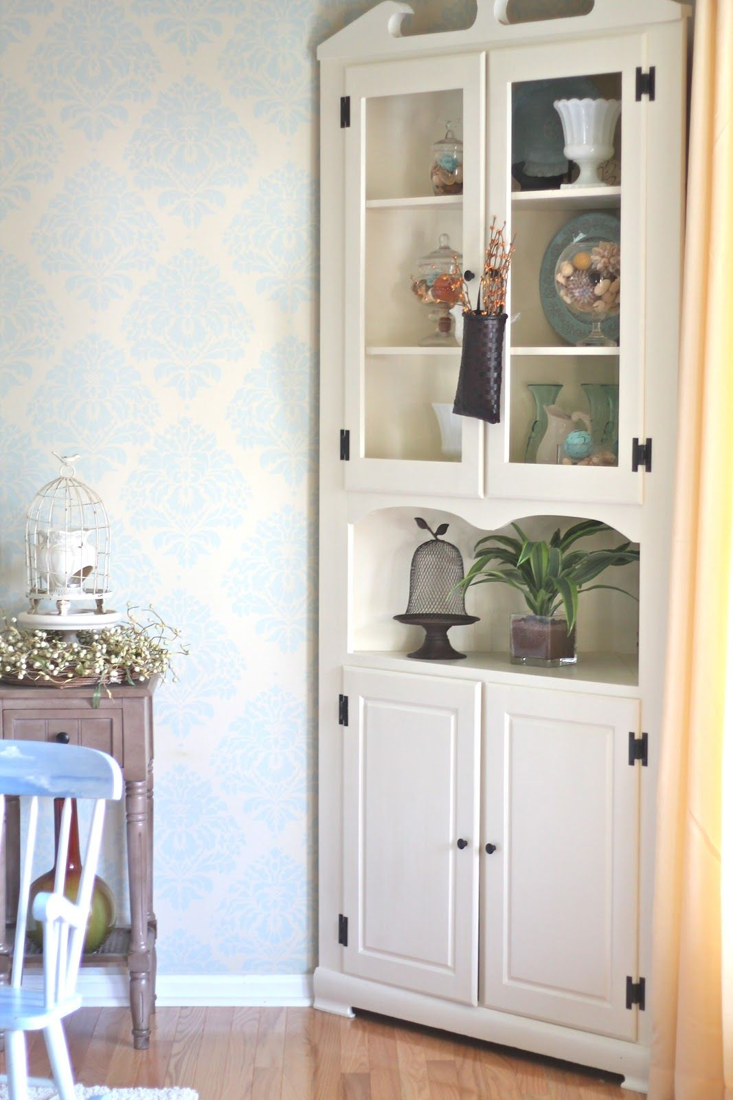 Annie Sloan Chalk Painted Corner Hutch In Old Ochre And A Custom - Dining room corner hutch