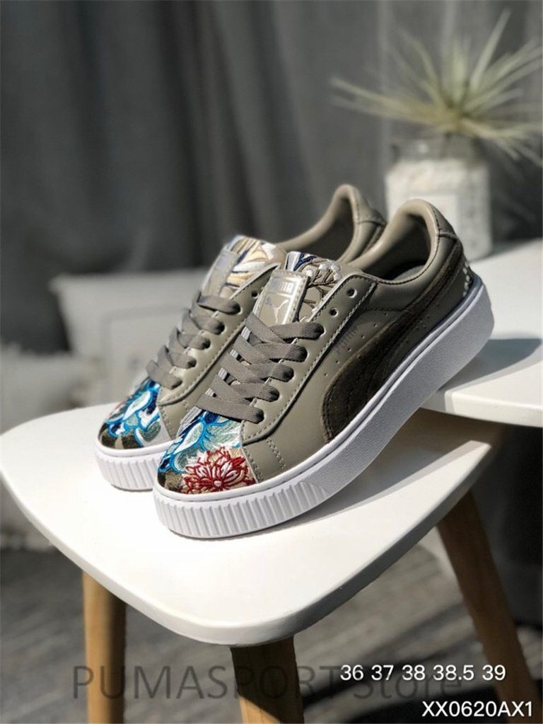 fb921d59a5af 2018 New Arrival Puma PLATFORM Flower Embroidery Sneakers Women s Badminton  shoes Size 35.5-40