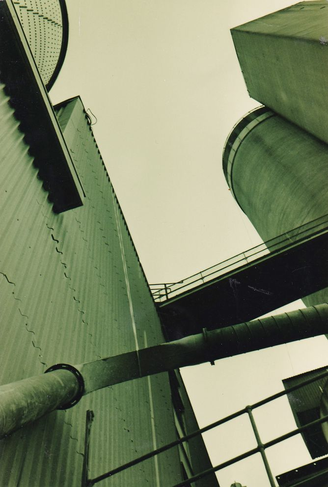 Thames Path, Greenwich, sepia photo, late 1980s. Urban decay, industry, geometric shapes.