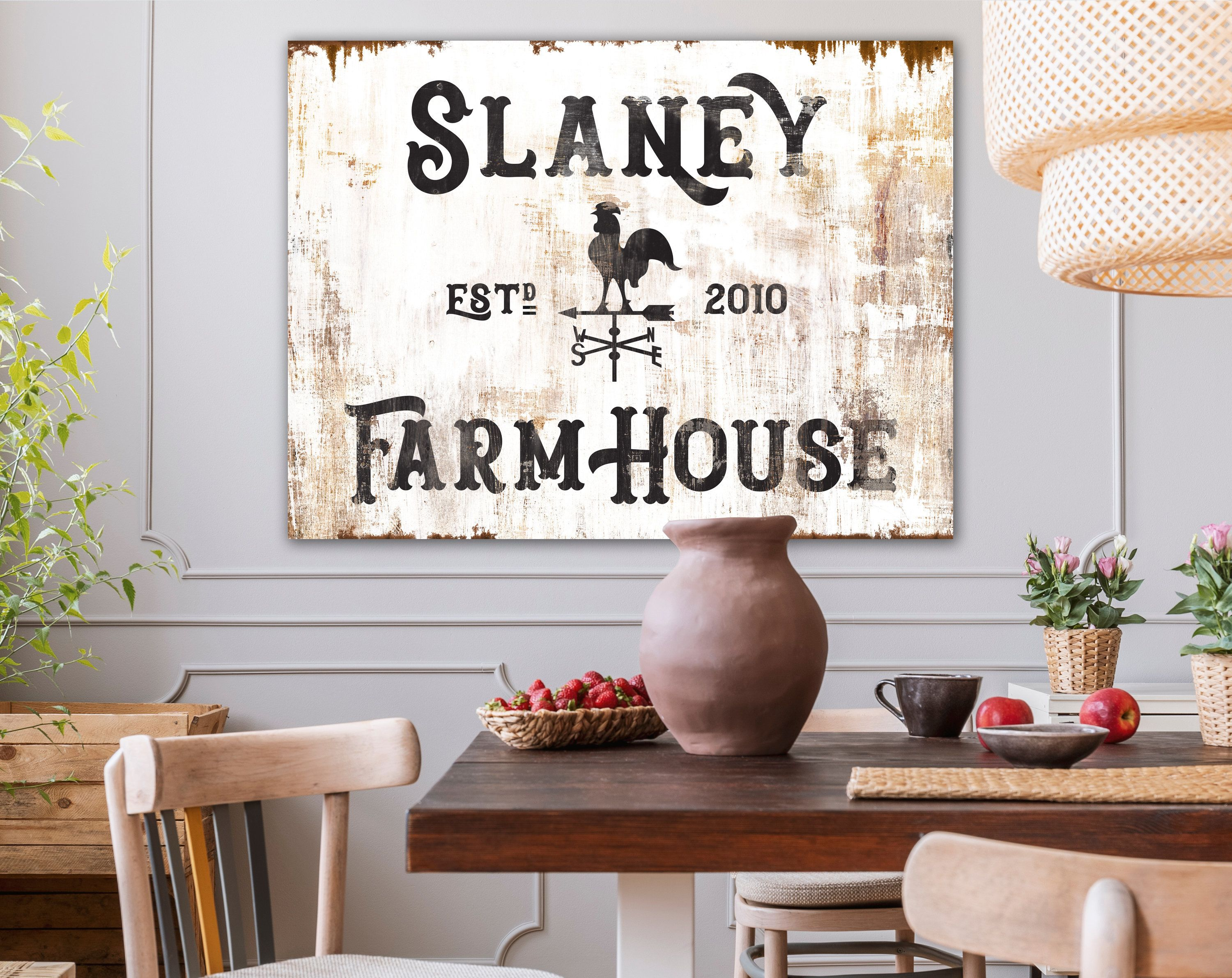 Custom Family Sign, Vintage Country Farmhouse Decor, Large