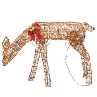 Home Accents Holiday 4 ft. Pre-Lit Animated Grapevine Grazing Doe-TY457-1211-3 - The Home Depot