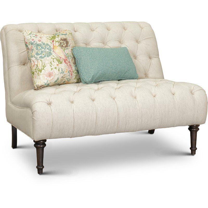 Cream On Tufted Settee With Throw, Paula Deen Furniture Sofa