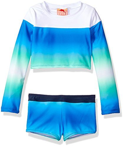 95f1e93e92 Girls' Long Sleeve Gradient Rash Guard and Swim Short Two Piece Set ...
