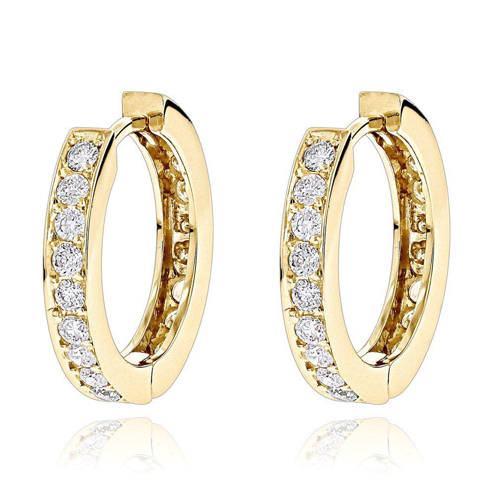 Small Hoop Earrings 14k Gold Inside Out Diamond Huggie 1 2ct