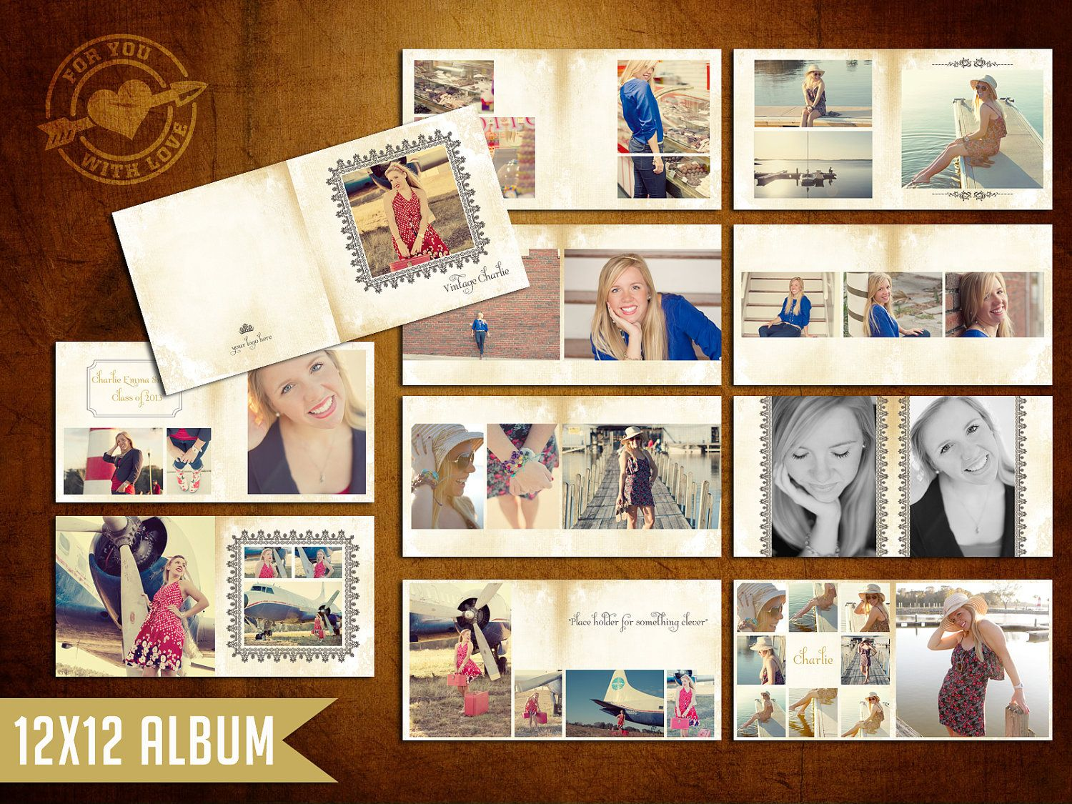 12x12 vintage charlie album template for photographers