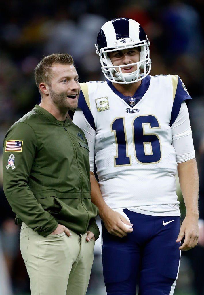 Los Angeles Rams Head Coach Sean Mcvay Qb 16 Jared Goff Rams Head Coach Rams Football Football Coach