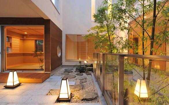 中庭に憩う 建築作品集 シンプルモダン 和モダン住宅などのデザイン