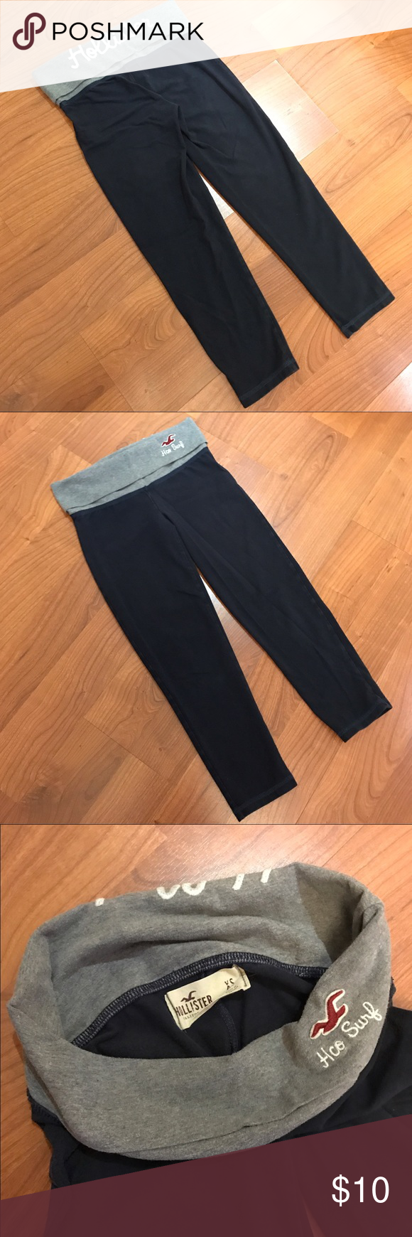 Capri yoga pants Capri length jersey yoga pants. Navy color with rolled down grey waistband. Hollister Pants Capris