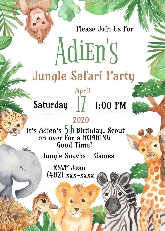 Safari Birthday Party Invitation Editable Jungle Safari Party Etsy In 2020 Safari Birthday Party Safari Birthday Safari Party