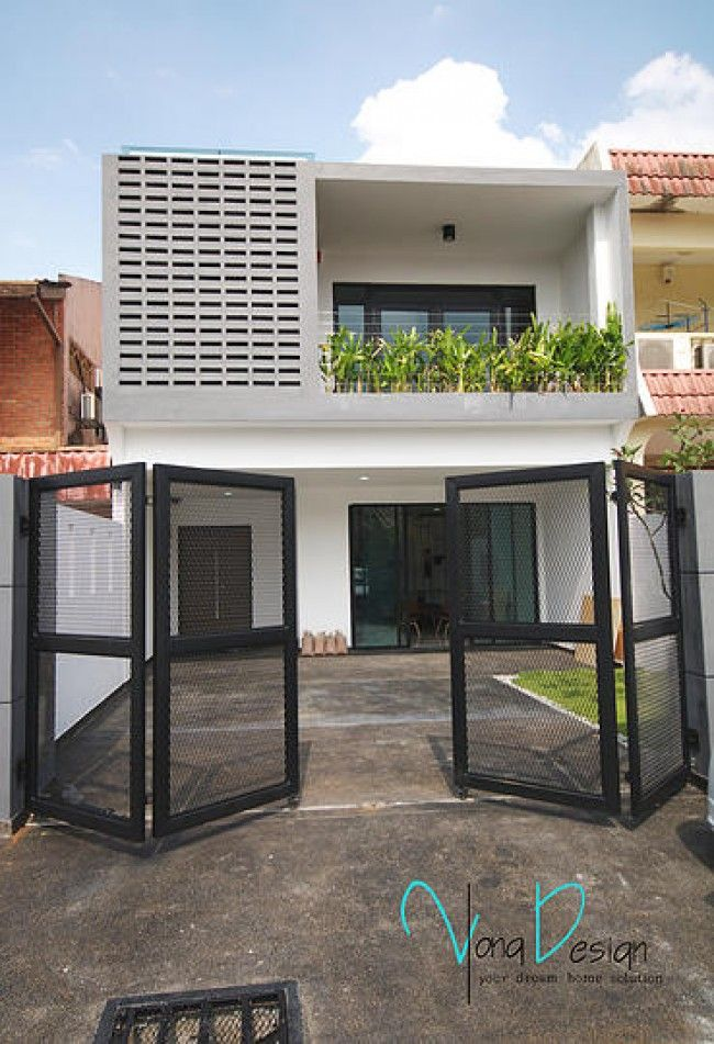 Yong studio sdn bhd simple yet fascinating terrace house exterior design featuring vented wall and  balcony lined with plants also minimalist plans ideas in rh pinterest