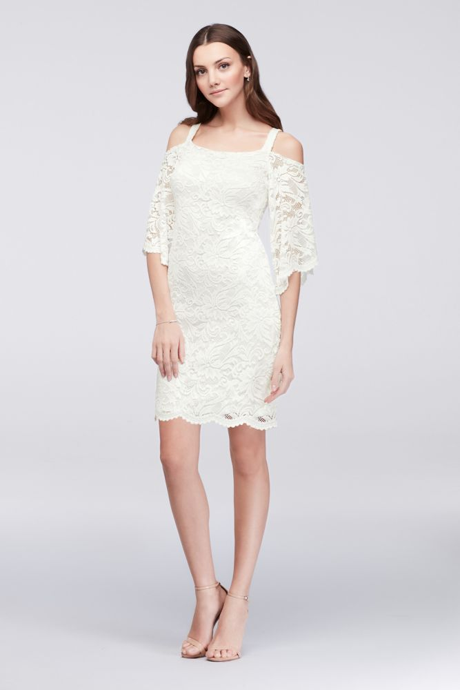 29c3aaecd4f Cold-Shoulder Lace Plus Size Sheath Dress - Ivory