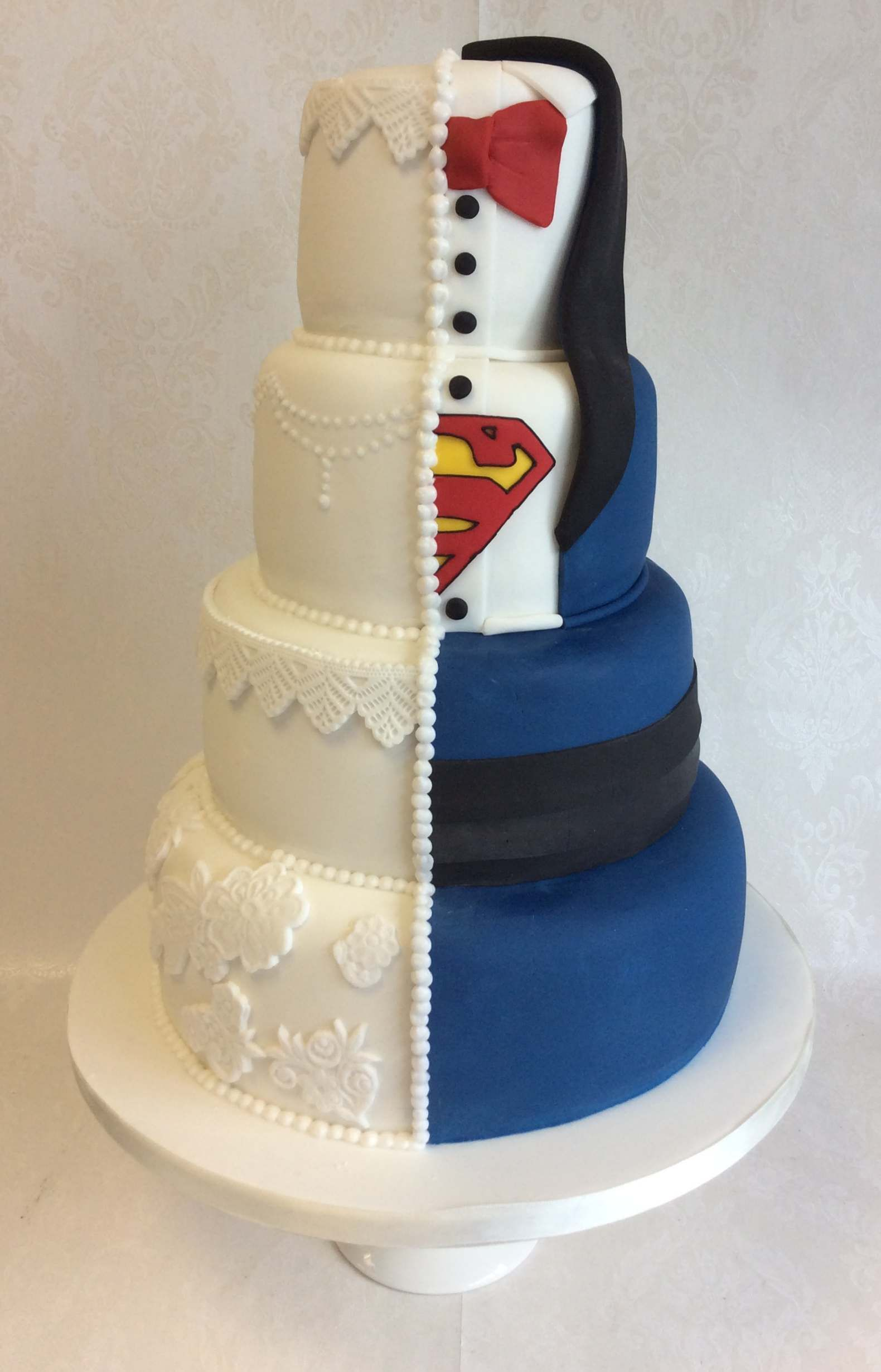 Dual Theme Vintage Style Lace And Piping For Her And Superman