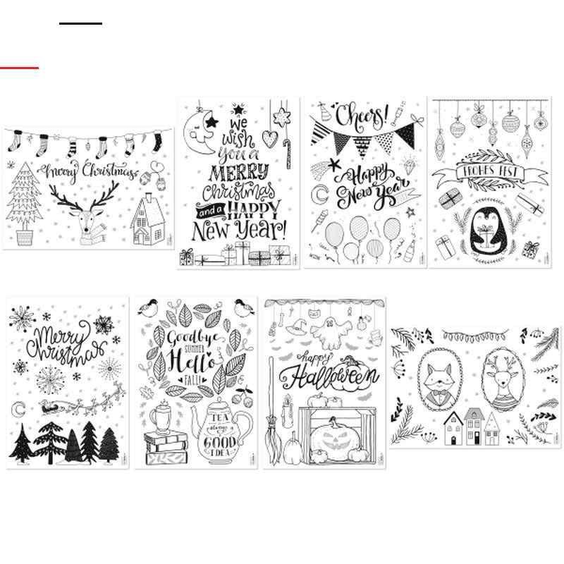 Fensterbild Vorlagen Fur Die Kalte Jahreszeit Maxi Set Fensterbilderherbstvorlagen 8 Malvorlagen In Originalgrosse Christmas Doodles Happy Tea Happy Fall