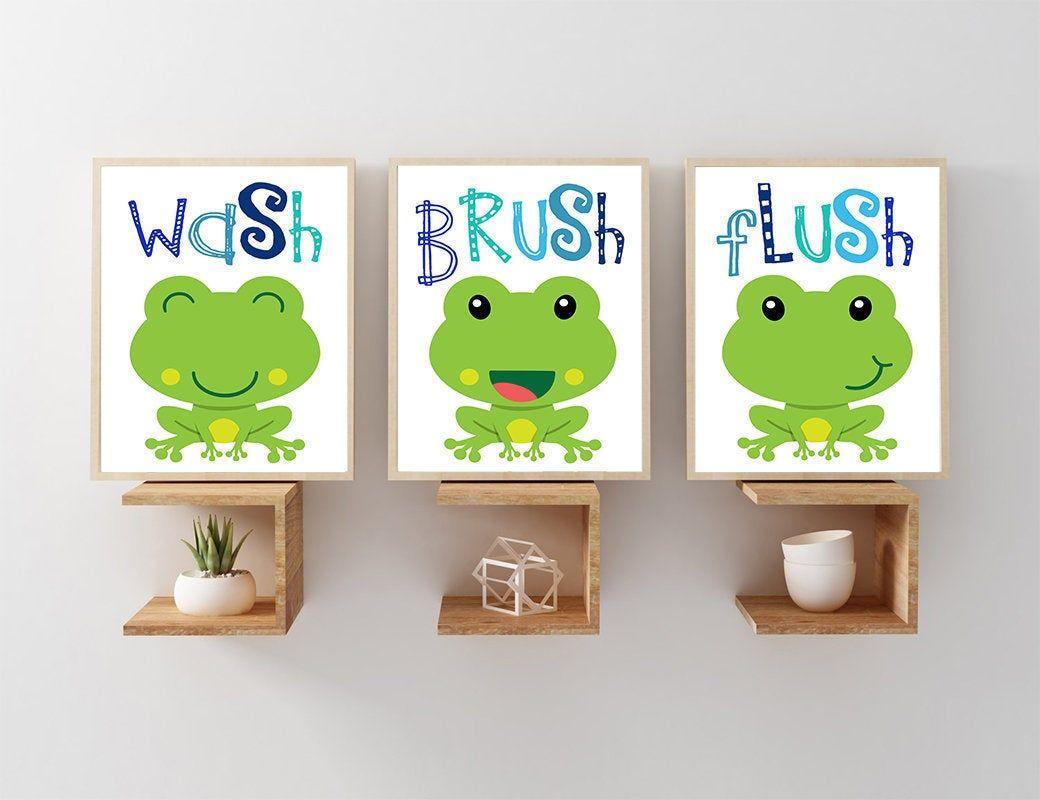 Frog Bathroom Frog Wall Art Kid Bathroom Wash Brush Flush Nautical