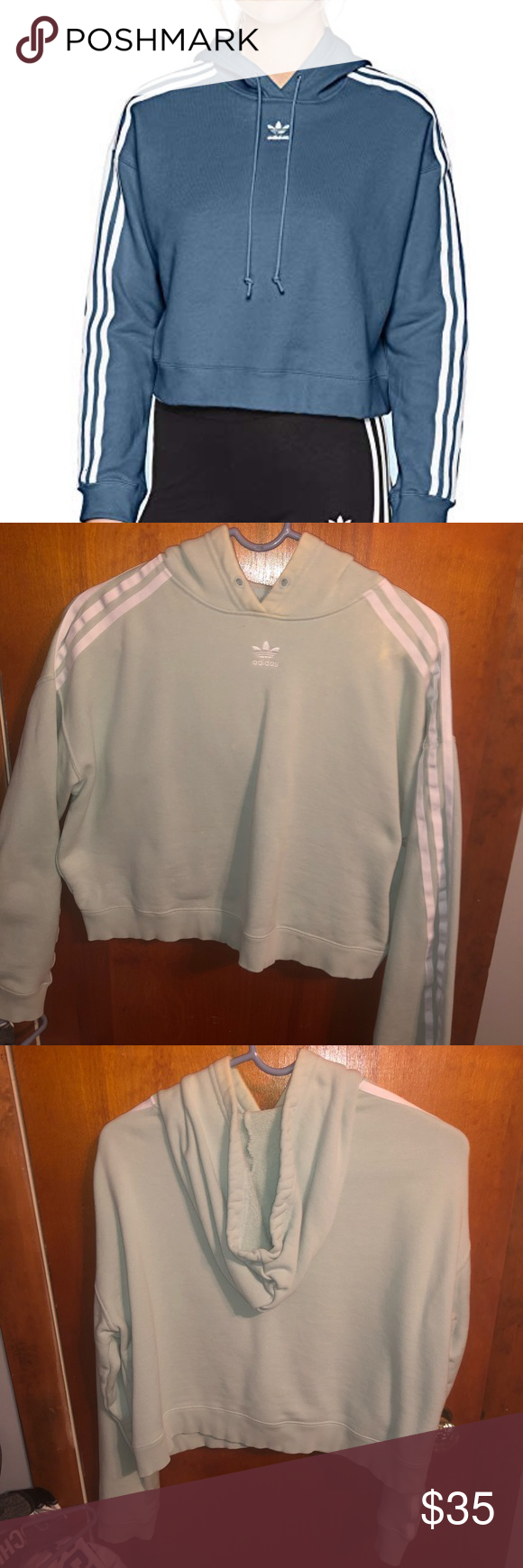 Adidas Cropped Women S Hoodie Cropped Light Blue Adidas Hoodie Size Medium Small Makeup Stain On The Fro Adidas Crop Long Sleeve Tshirt Men Hoodies Womens [ 1740 x 580 Pixel ]