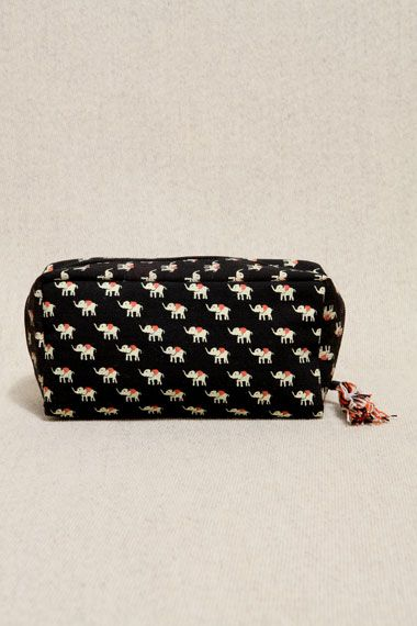 Elephant Print Cosmetics Case Black - Urban Outfitters - New Fashioned