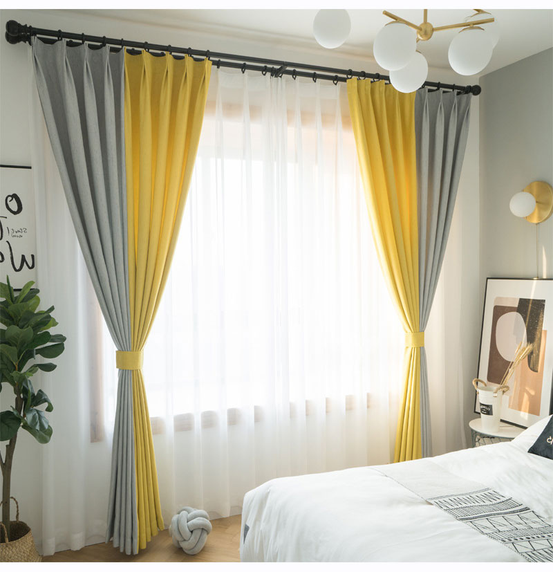 Nordic Max Blackout Curtain Gray Yellow Splice Curtain Bedroom
