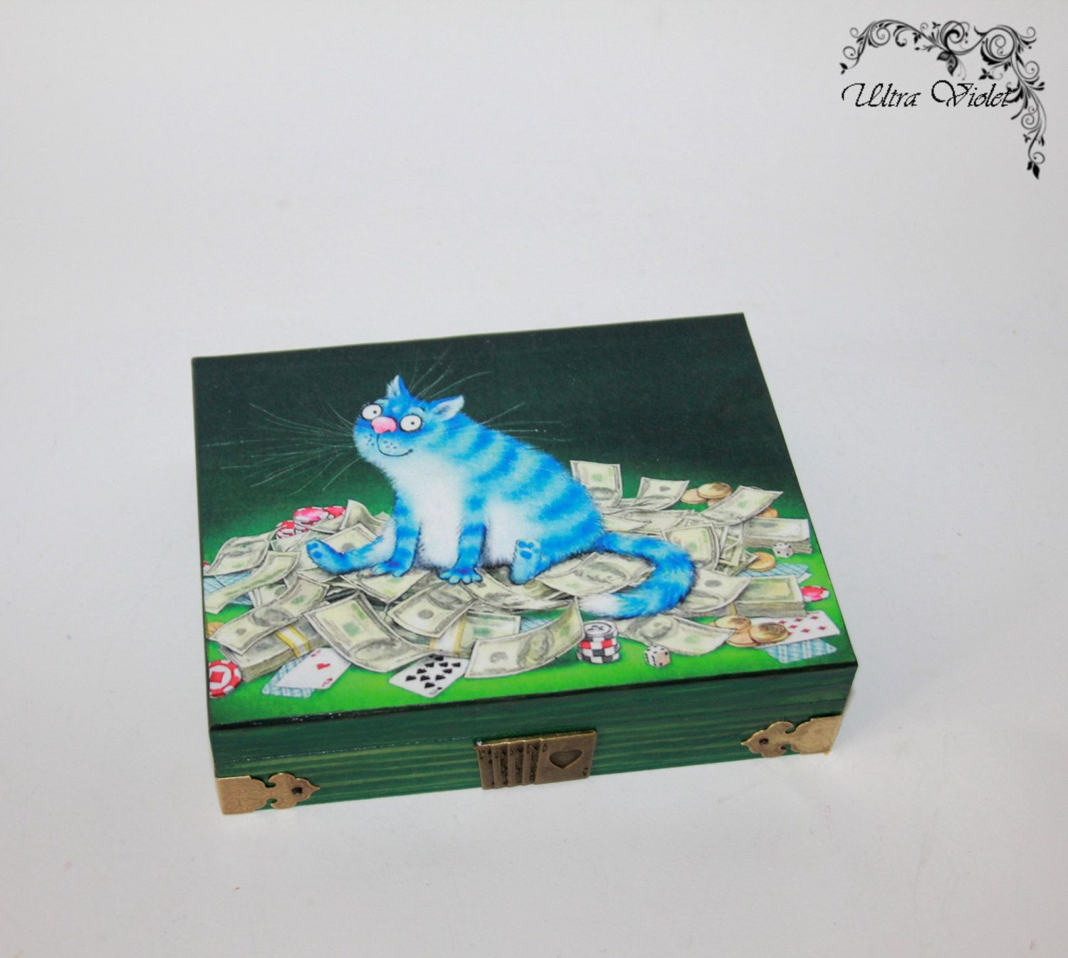 Game cards wooden box, poker, cards, card game, double box, handmade
