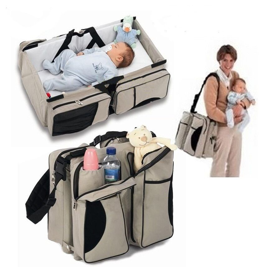 Triad Multi function Mummy Bag Mother Child Bag Portable Folding Travel Crib