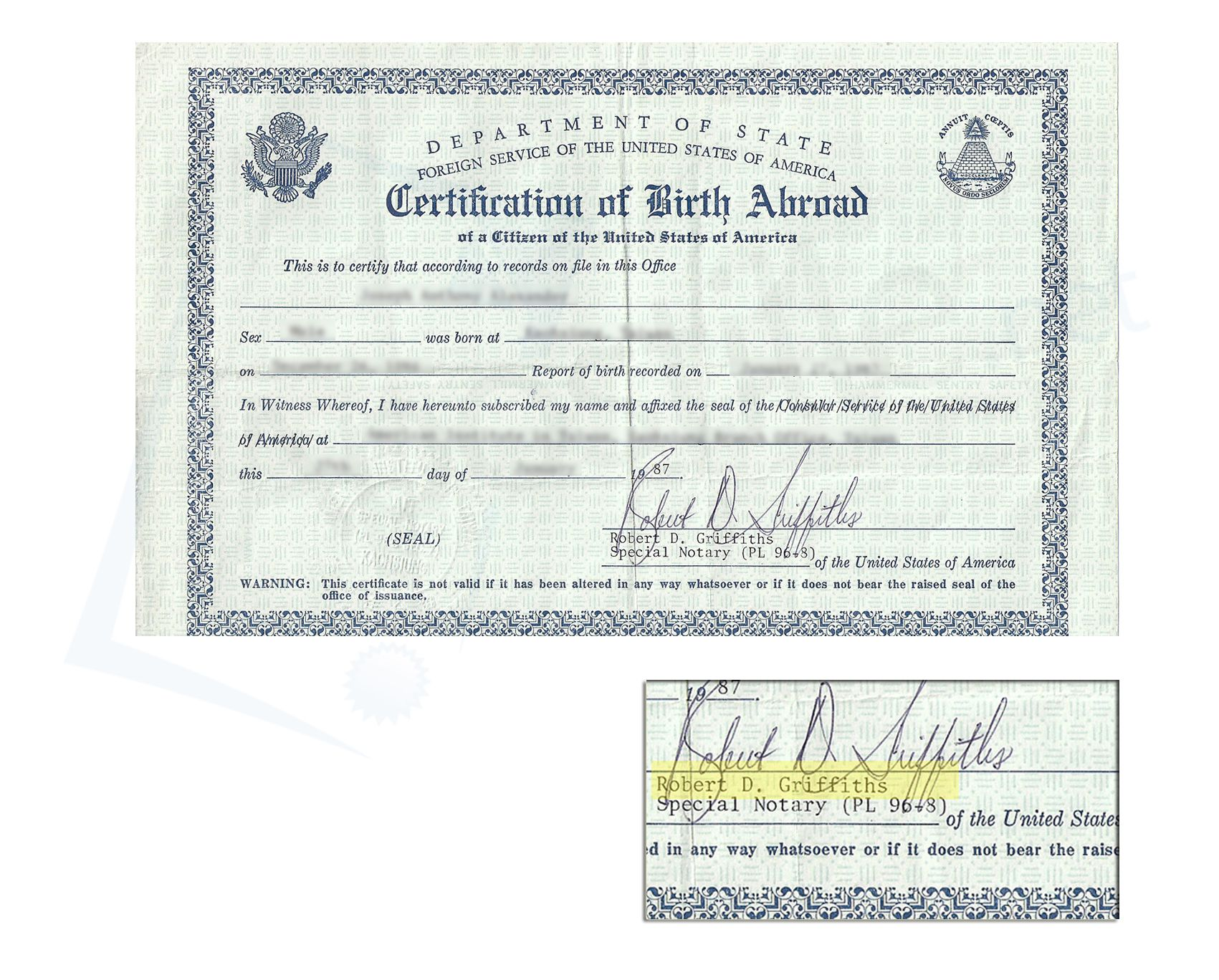 80s Consular Certificate Of Birth Abroad Signed By Robert D