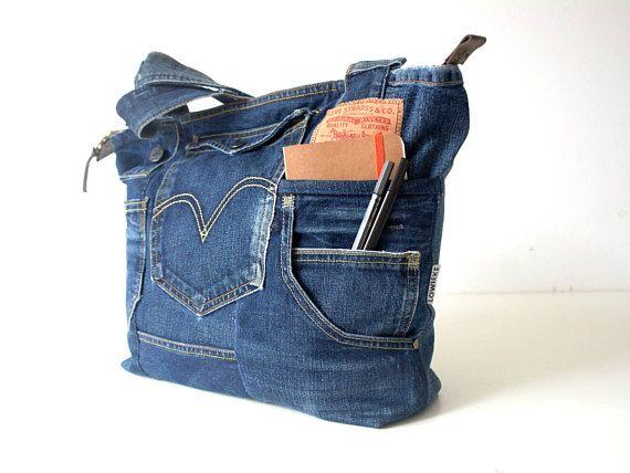 Vintage sac en Jean Levi 501 avec fermeture à glissière   puppet ... ce449480a78e