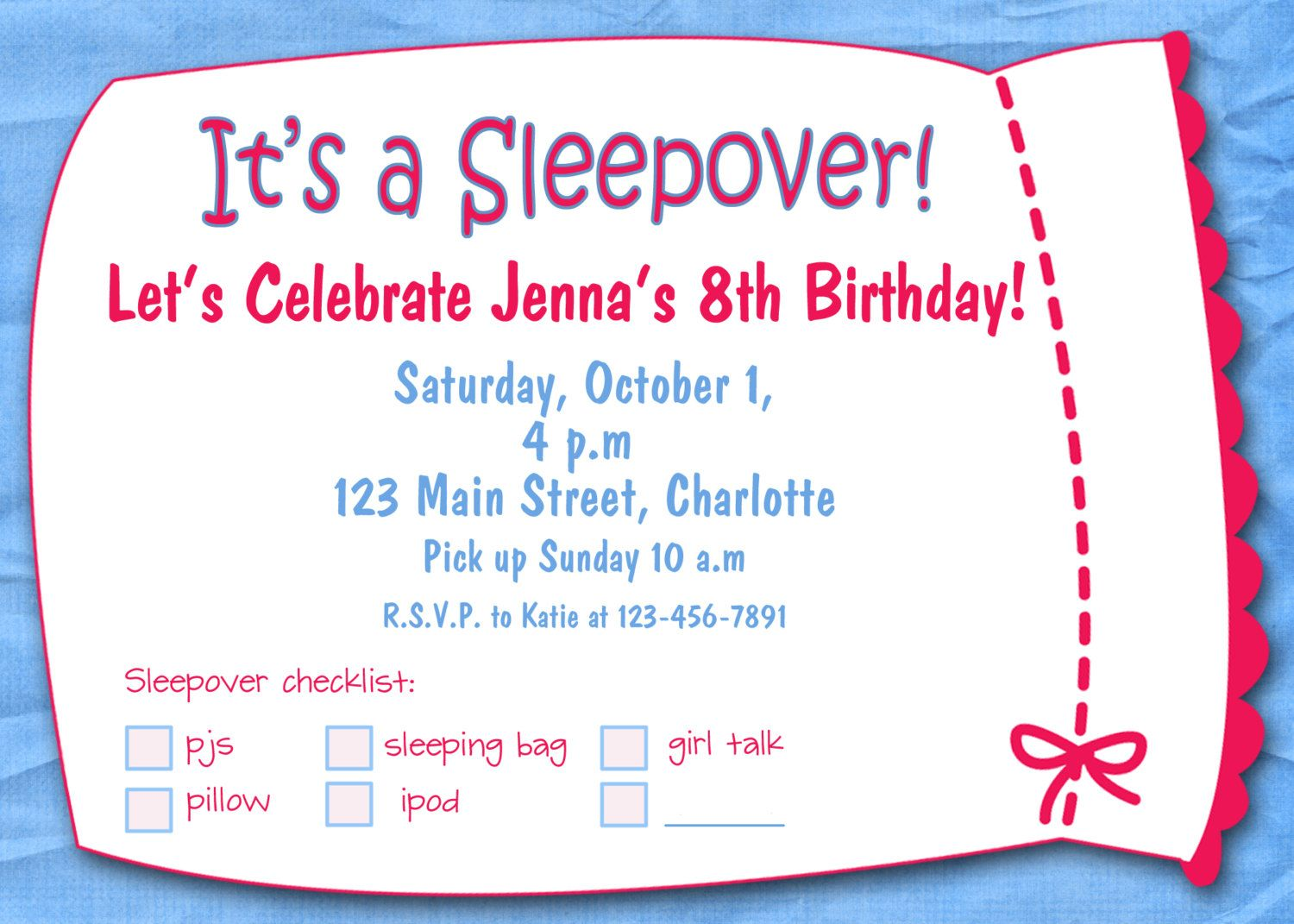 free printable sleepover birthday party invitations girls
