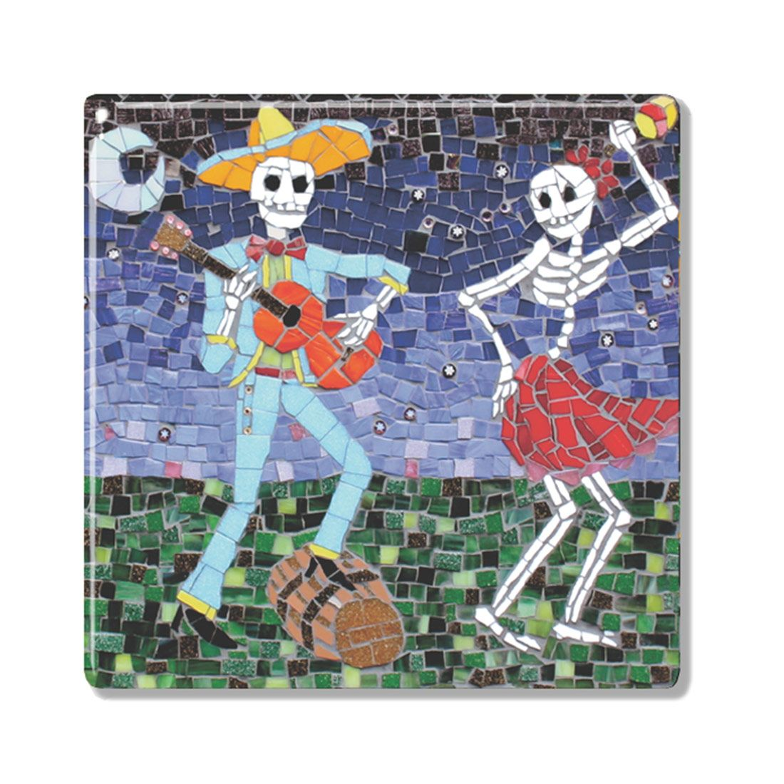 The dancers mexican day of the dead mosaic style ceramic coaster the dancers mexican ceramic coaster sugarskull dayofthedead skulls skeleton gifts dailygadgetfo Choice Image