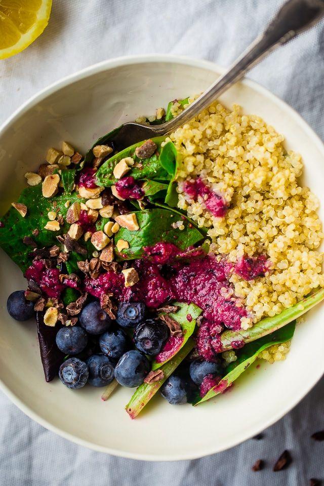 Superfood Quinoa Salad Recipe with Blueberries and Cacao Nibs {Vegan + Gluten Free} via @FoodFaithFit
